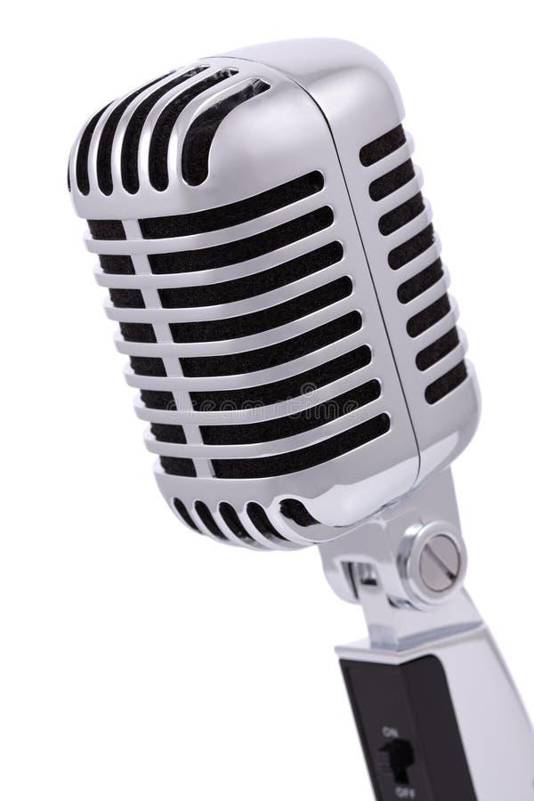 Micrófono del vintage aislado en blanco fotografía de archivo libre de regalías
