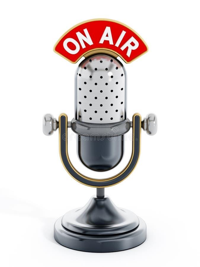 Micrófono del vintage con en el texto del aire stock de ilustración