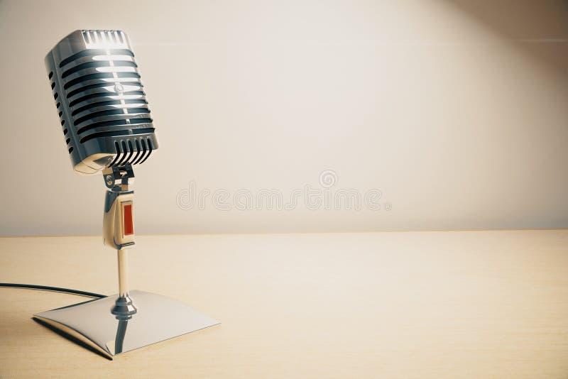 Micrófono del vintage en la tabla de madera blanca stock de ilustración