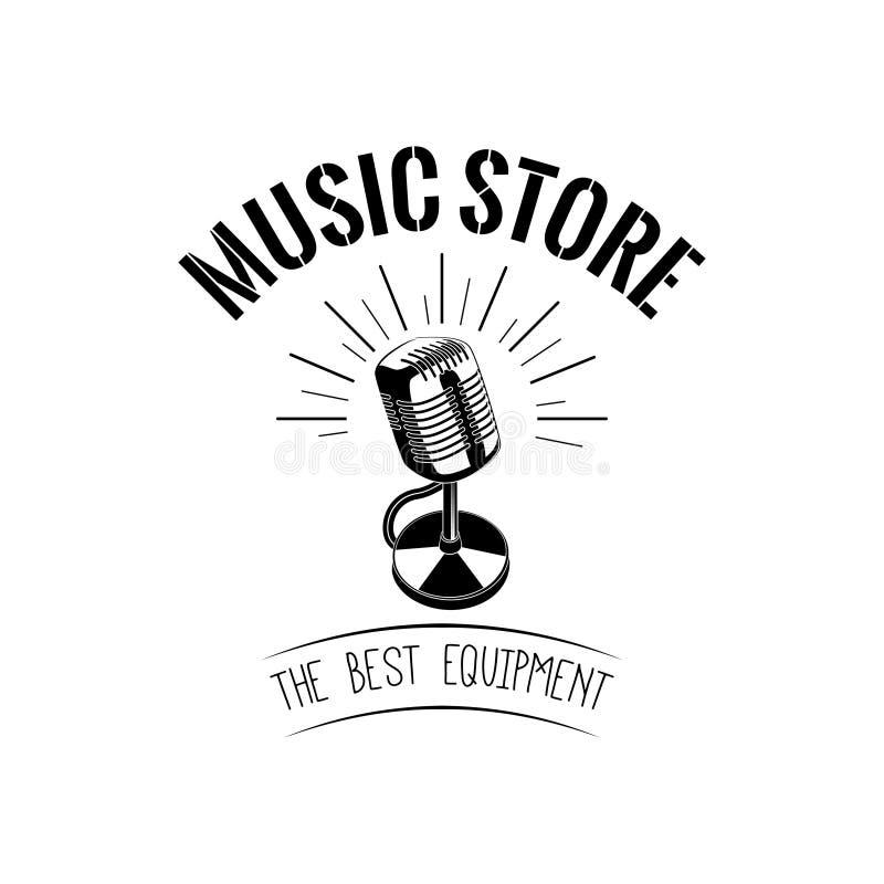 Micrófono del vintage Logotipo del icono de la música Ilustración del vector stock de ilustración