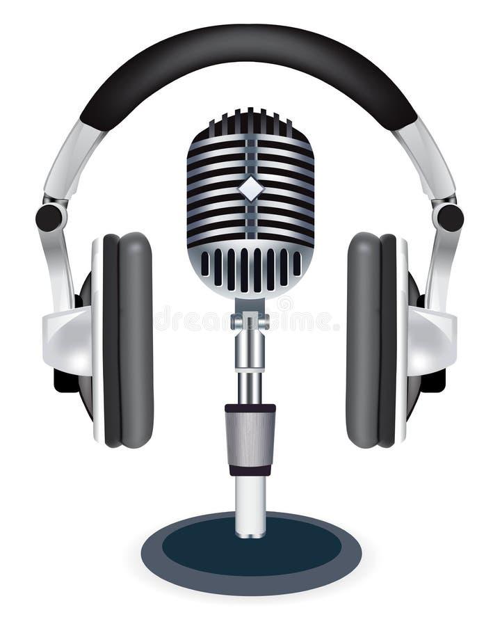 Micrófono del witn de los auriculares del vector libre illustration