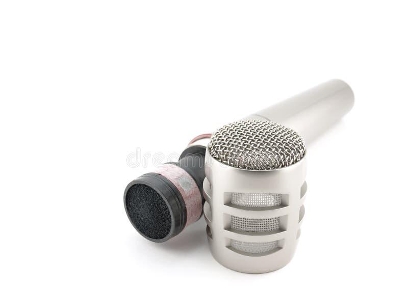 Micrófono desensamblado sobre blanco imagen de archivo libre de regalías
