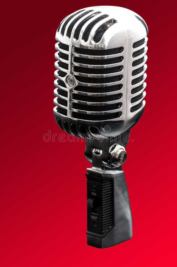 Micrófono diseñado retro del cromo fotografía de archivo