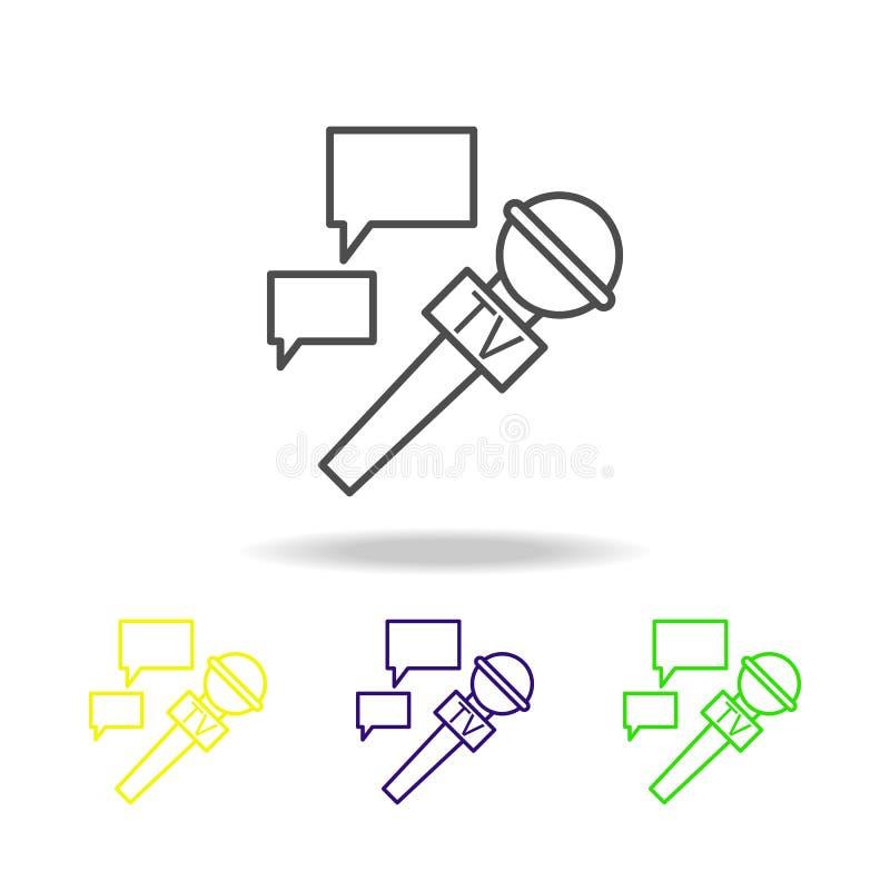 micrófono e iconos multicolores de la burbuja de la comunicación Elemento del periodismo para el ejemplo móvil de los apps del co ilustración del vector