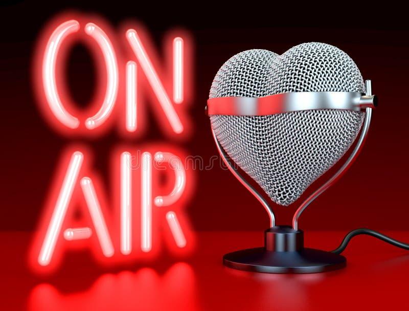 Micrófono en forma de corazón en el aire ilustración del vector