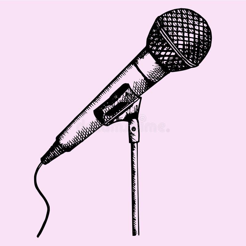 Micrófono en soporte stock de ilustración