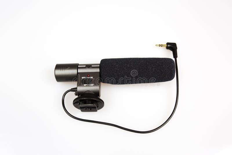 Micrófono externo para la cámara en blanco aislado imágenes de archivo libres de regalías