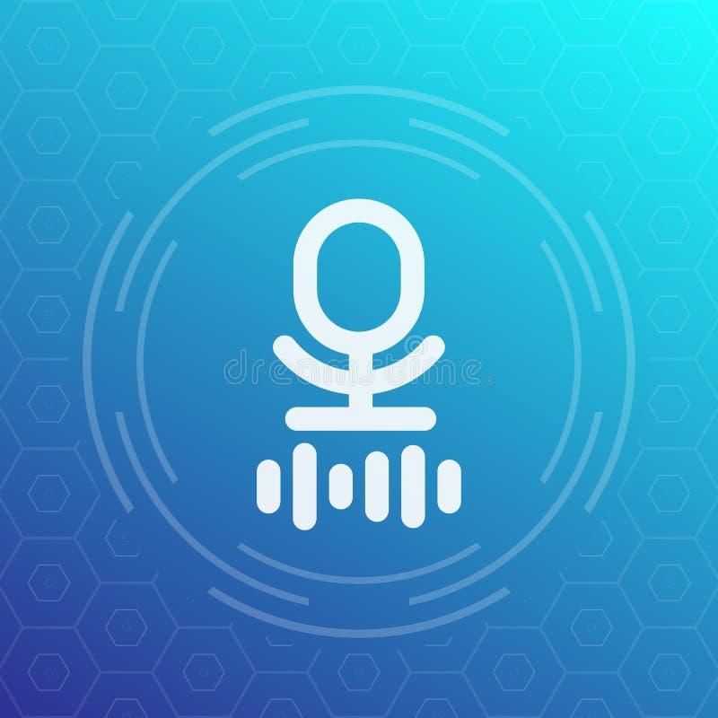 Micrófono, icono del vector del reconocimiento de voz stock de ilustración