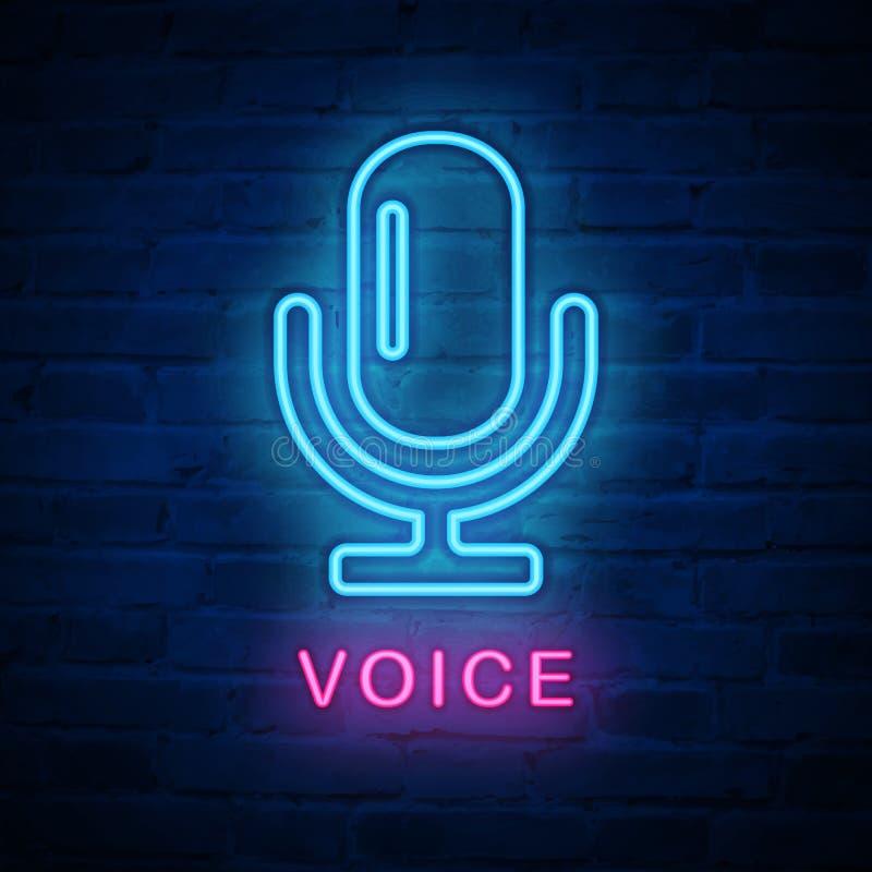 Micrófono ligero de neón iluminado vector de la voz de la muestra del icono libre illustration