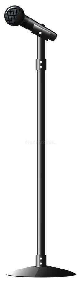 Micrófono negro con el soporte ilustración del vector
