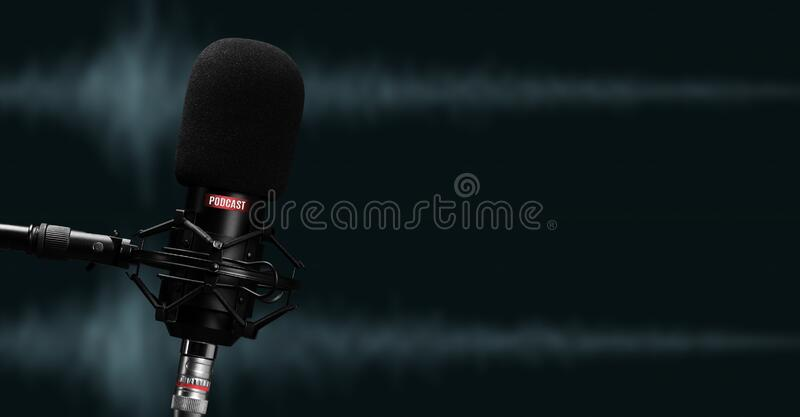 Micrófono para grabar podcasts cerrar imágenes de archivo libres de regalías