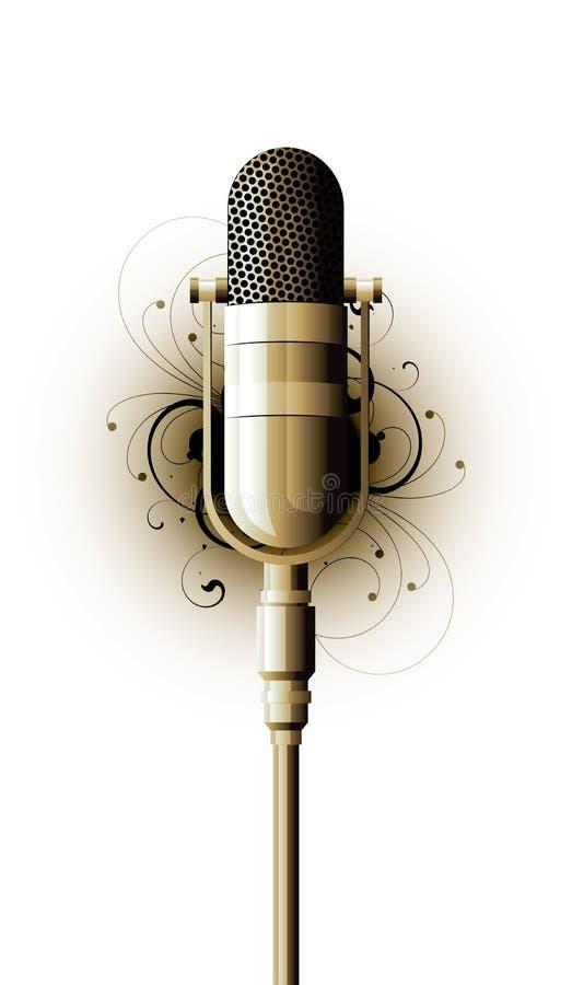 Micrófono pasado de moda stock de ilustración