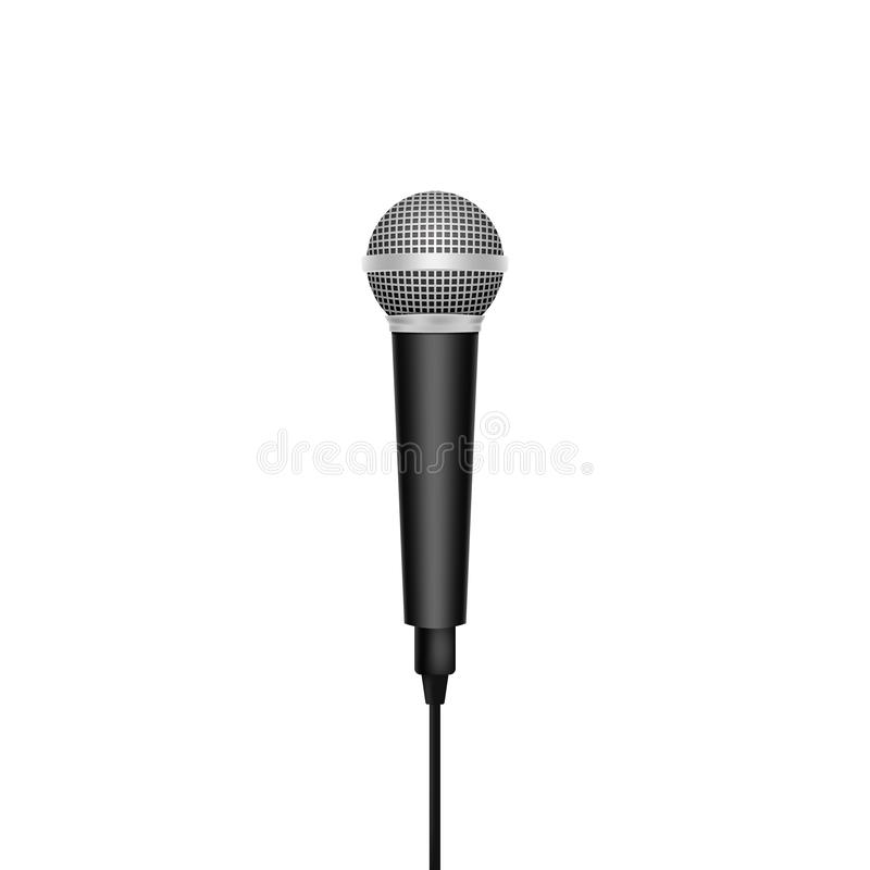 Micrófono realista aislado en el fondo blanco Ilustración del vector libre illustration