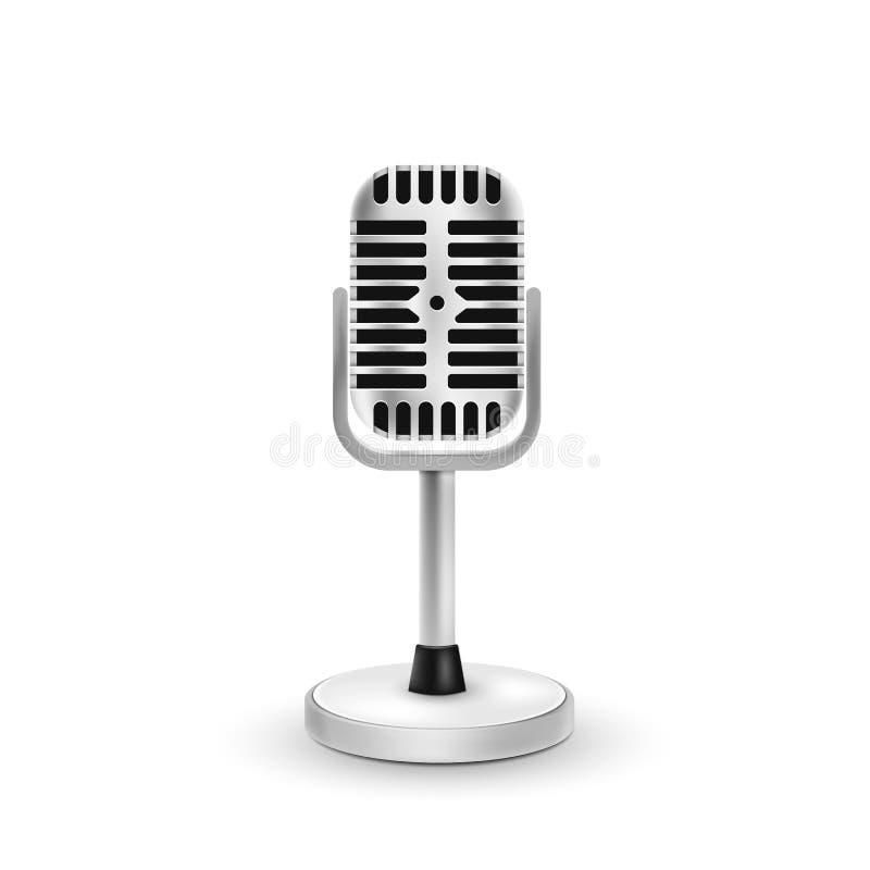 Micrófono realista aislado en el fondo blanco Ilustración del vector ilustración del vector