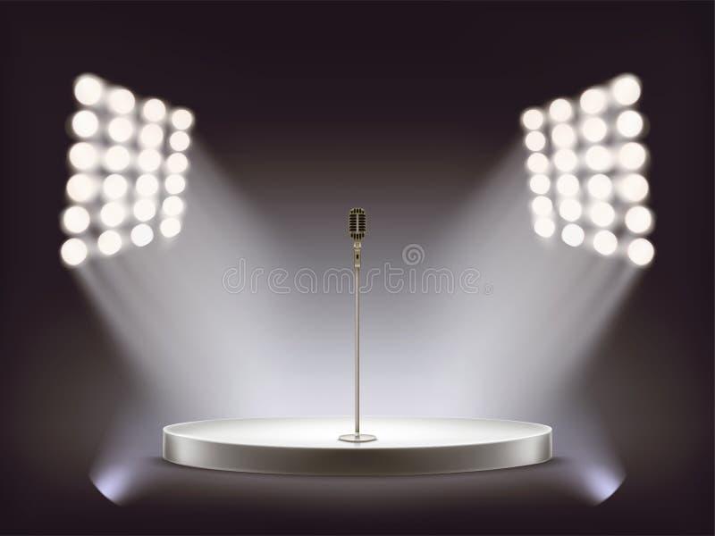 micrófono realista en etapa redonda vacía stock de ilustración