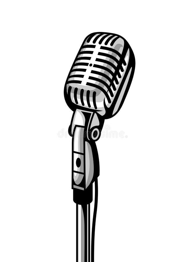 Micrófono retro aislado en el fondo blanco Ejemplo en estilo del vintage ilustración del vector