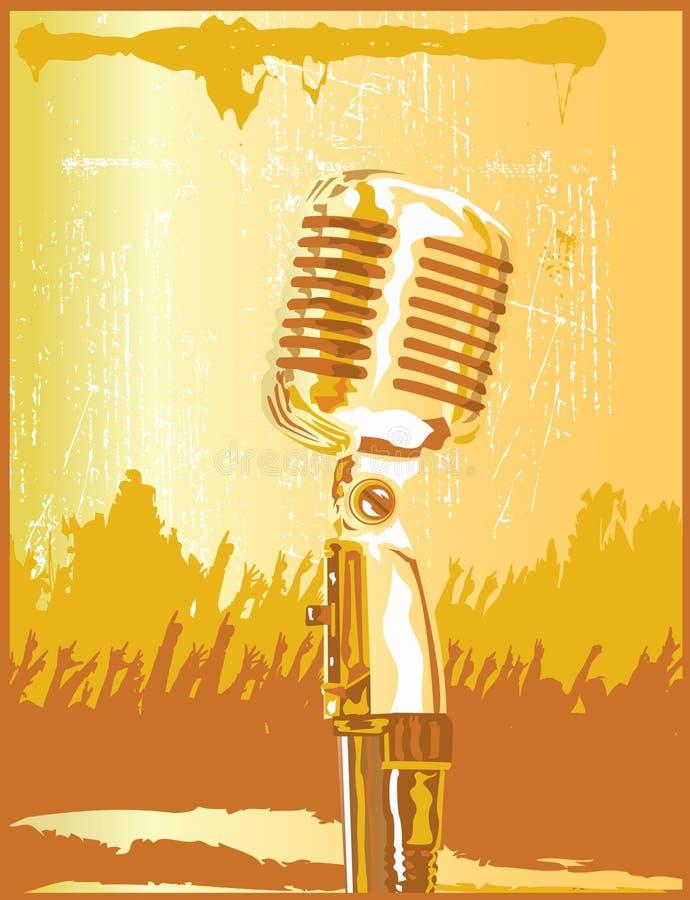 Micrófono retro del oro stock de ilustración