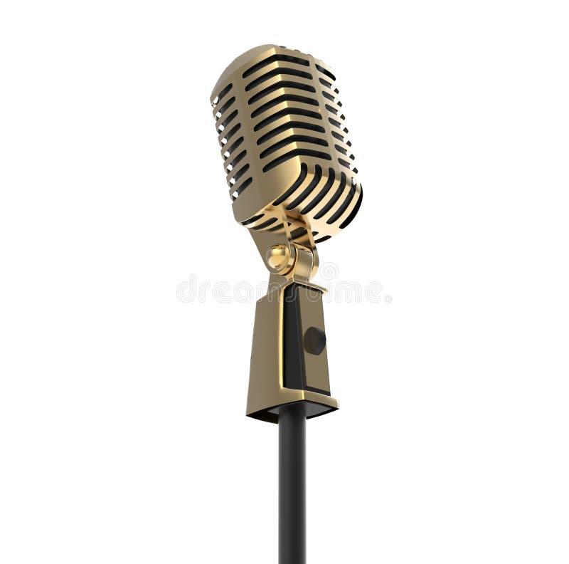 Micrófono retro del oro del vintage aislado en blanco stock de ilustración