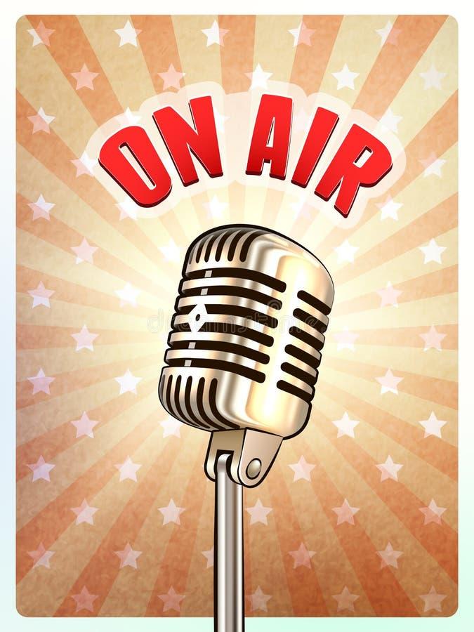 Micrófono retro en el cartel del fondo del aire libre illustration