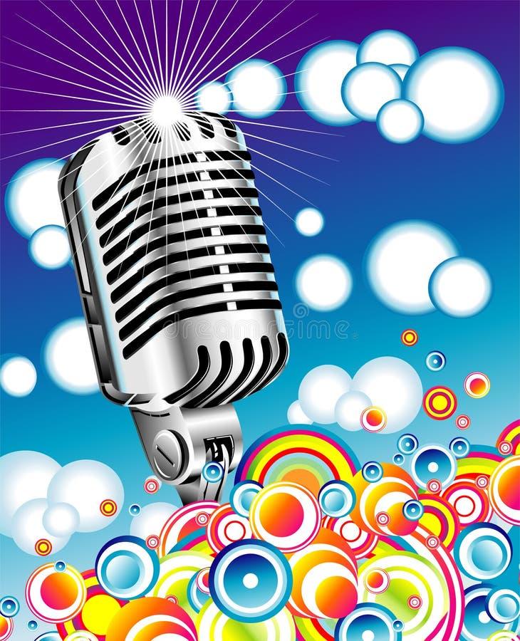 Micrófono retro en el cielo azul - JPG ilustración del vector