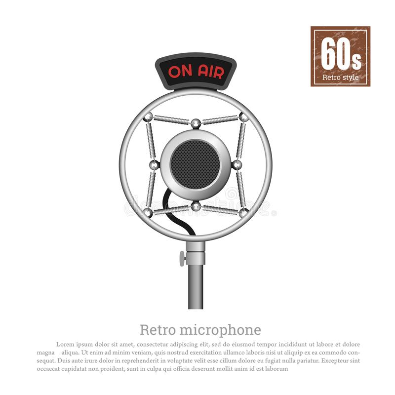 Micrófono retro en estilo realista en el fondo blanco Equipo musical del estudio Tecnologías de 60s Objeto del vintage stock de ilustración