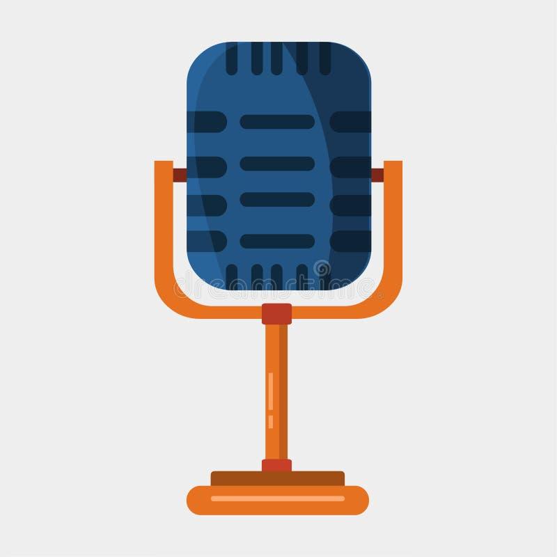 Micrófono retro en ilustración vectorial de fondo blanco stock de ilustración