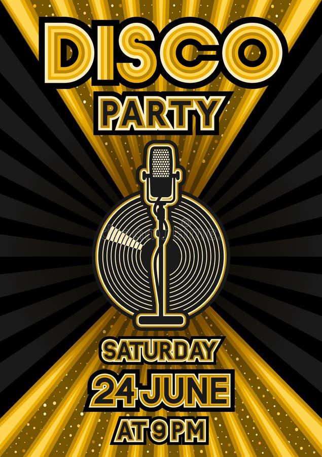 Micrófono y disco de vinilo en fondo negro y de oro Cartel del partido en estilo retro ilustración del vector