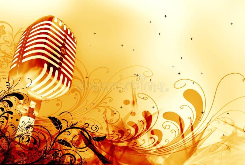 Micrófono y diseño floral stock de ilustración