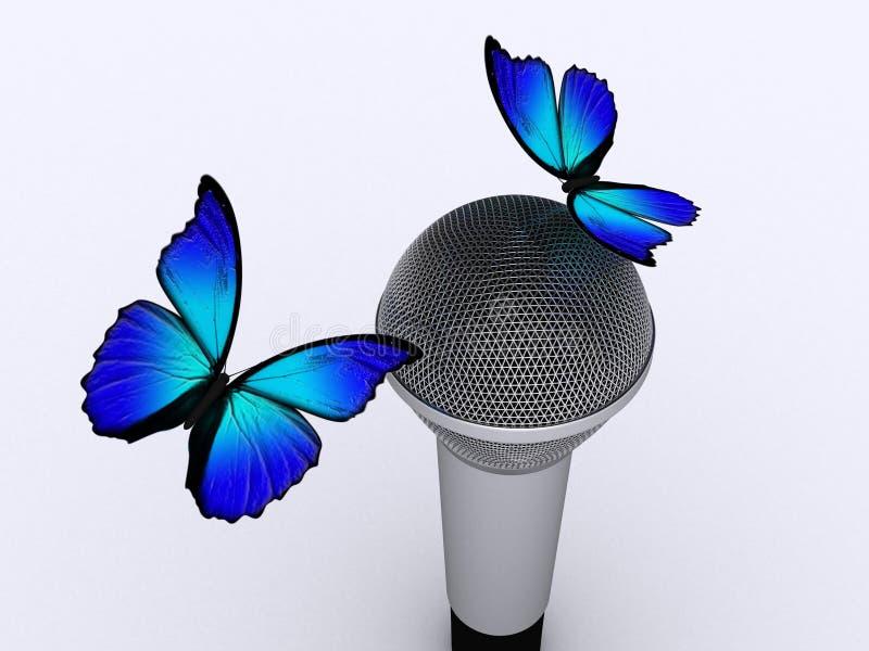 Micrófono y mariposa 2 ilustración del vector
