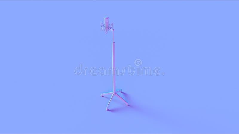 Micrófono y soporte rosados azules imagenes de archivo