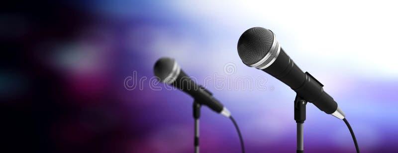 Micrófonos en soportes en el fondo azul de la falta de definición, bandera ilustración 3D ilustración del vector