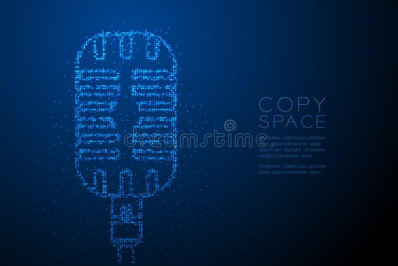 Micr?fono retro de Bokeh del c?rculo del punto del modelo geom?trico abstracto del pixel, ejemplo de color azul del dise?o de con libre illustration