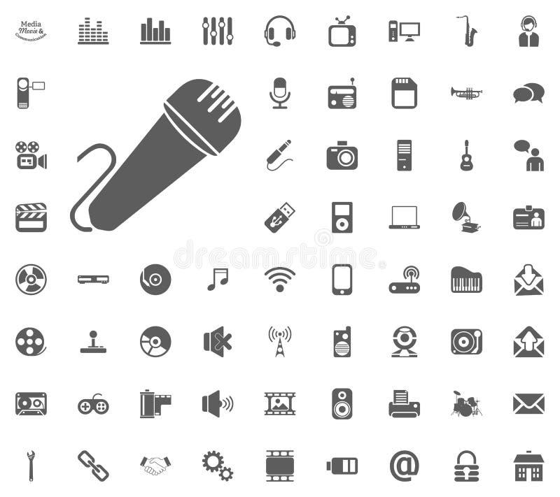 Micrafon ikona Środków, muzyki i komunikaci ikony wektorowy ilustracyjny set, Set ogólnoludzkie ikony Set 64 ikony zdjęcie royalty free