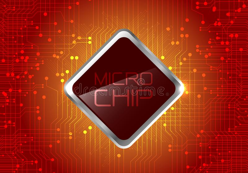 Micro Chip on red circuit pattern background design modern computer futuristic background vector. royalty free illustration