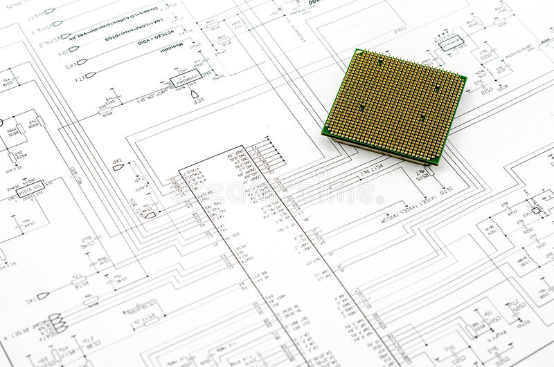 Micro Electronics Element And Layout. Integrated micro electronics component on microcircuit diagram drawing royalty free stock images
