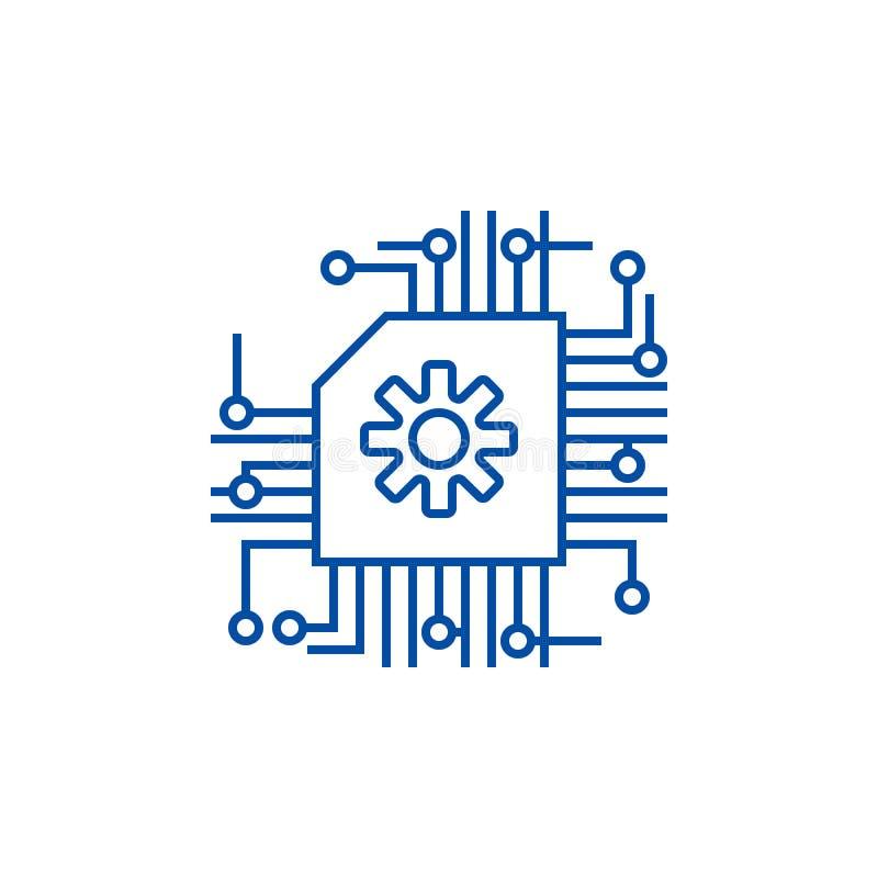 Micro esquema, ai, linha conceito da inteligência artificial do ícone Micro esquema, ai, símbolo liso do vetor da inteligência ar ilustração stock