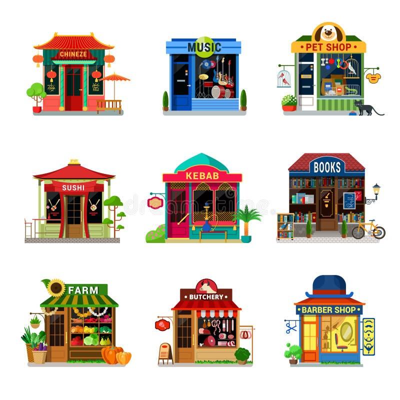Micro icon shop food store showcase sushi kebab flat vector vector illustration