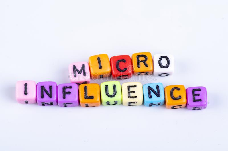 MICRO INFLUENCE word block concept on white reflection table royalty free stock photography