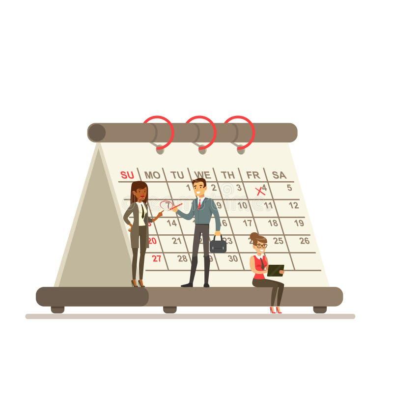 Micro- jonge vrouwen en man die zich naast een reuzedocument kalender bevinden stock illustratie