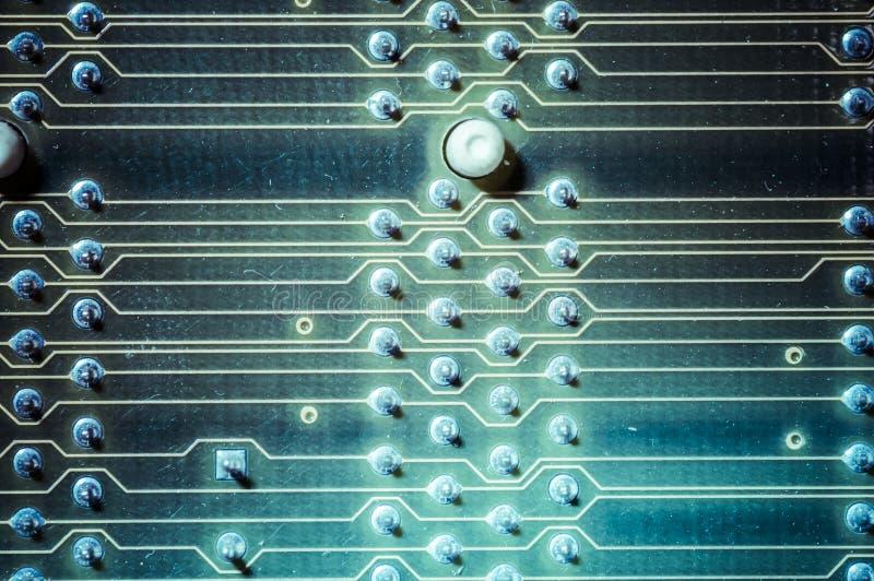 Micro, moderkort, dator och modern bakgrund för elektronik royaltyfri foto