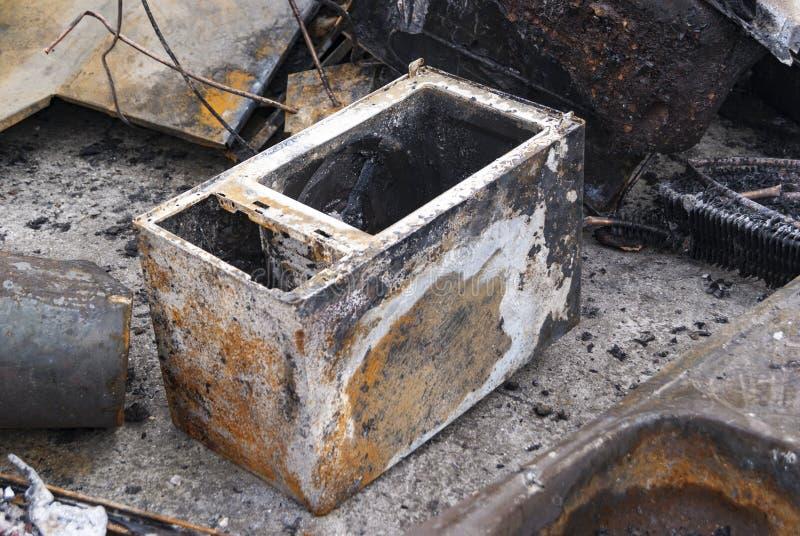 Micro-onde après le feu image stock