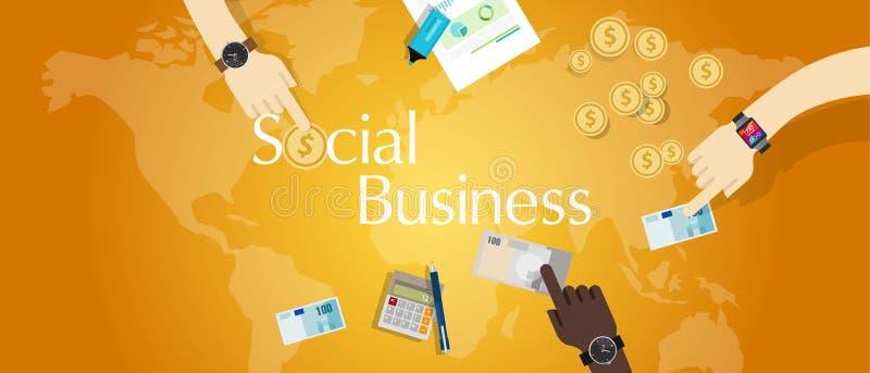 Micro prestito finanziario del modello di finanziamento di microfinanza sociale di affari illustrazione vettoriale