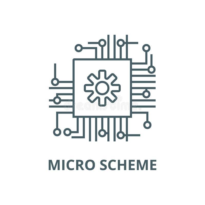 Micro schema, ai, linea icona, concetto lineare, segno del profilo, simbolo di vettore di intelligenza artificiale illustrazione di stock