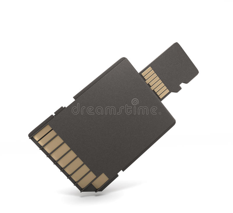 Micro SD card and adapter. On white background. 3d render image stock illustration