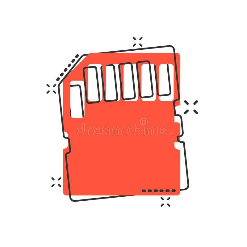 Micro SD card icon in comic style. Memory chip vector cartoon illustration on white isolated background. Storage adapter business royalty free illustration