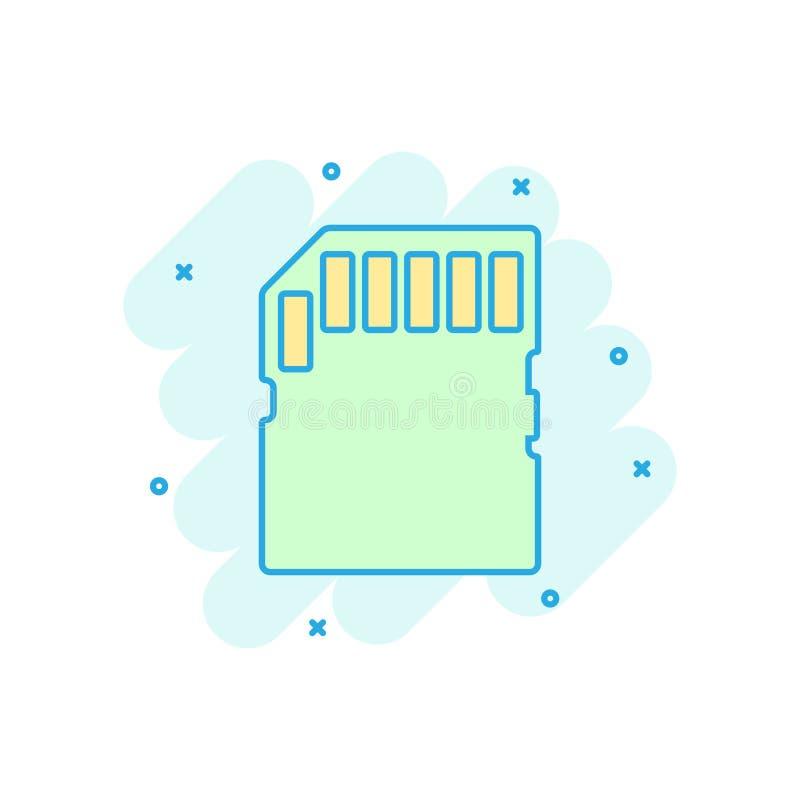 Micro- SD-geheugenkaartpictogram in grappige stijl Vector het beeldverhaalillustratie van de geheugenspaander op wit geïsoleerde  vector illustratie