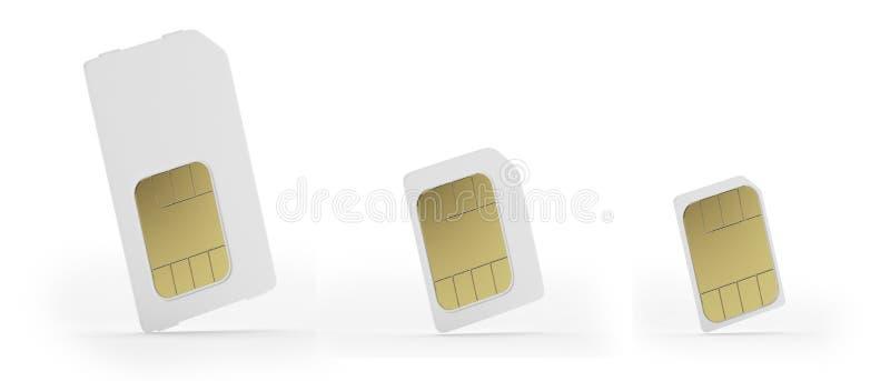 Micro-sim e schede nano-sim di Sim, illustrazione di stock
