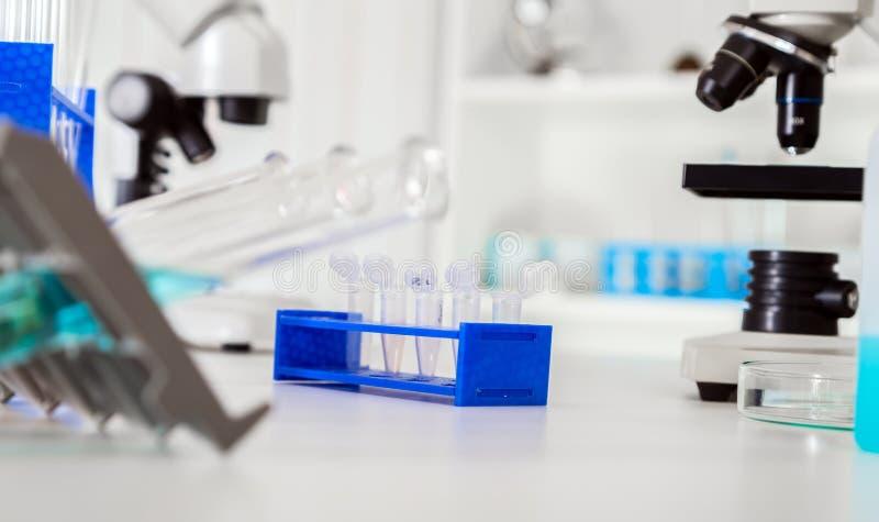 Micro tubos com as amostras biológicas no laboratório, fotos de stock royalty free