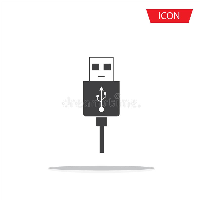Micro USB cables icon isolated on white background,. Micro USB cables icon isolated on background stock illustration