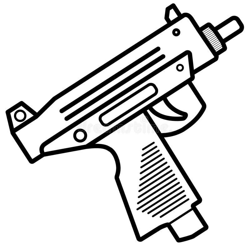 Micro Uzi Submachine Gun Vetora Illustration ilustração royalty free